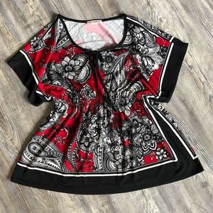 Claudia Richard Red and Black Patterned Blouse
